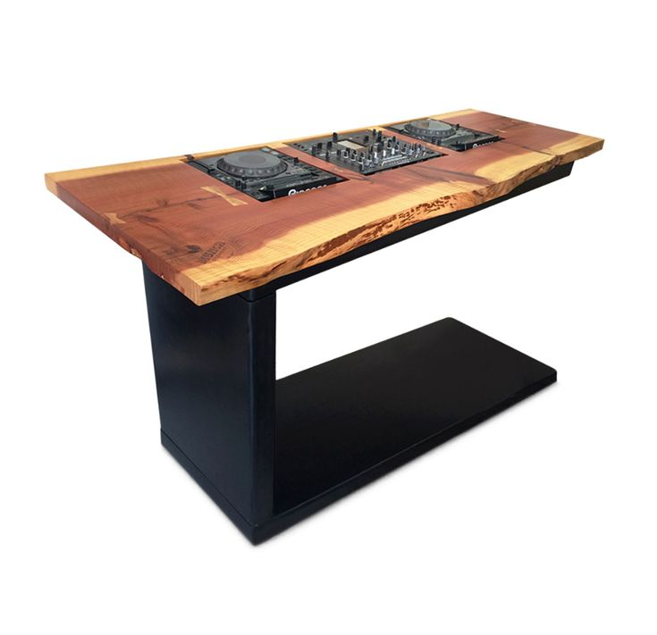 dj table cherry hardwood slab hot rolled steel with patina amber resign dimensions w 25 x. Black Bedroom Furniture Sets. Home Design Ideas