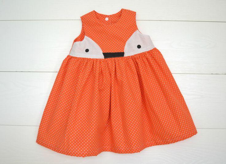 Taglia 3- 6 anni Abito arancione a pois bambina volpe kawaii vestitino estivo volpe : Moda bambina di tamago-craft