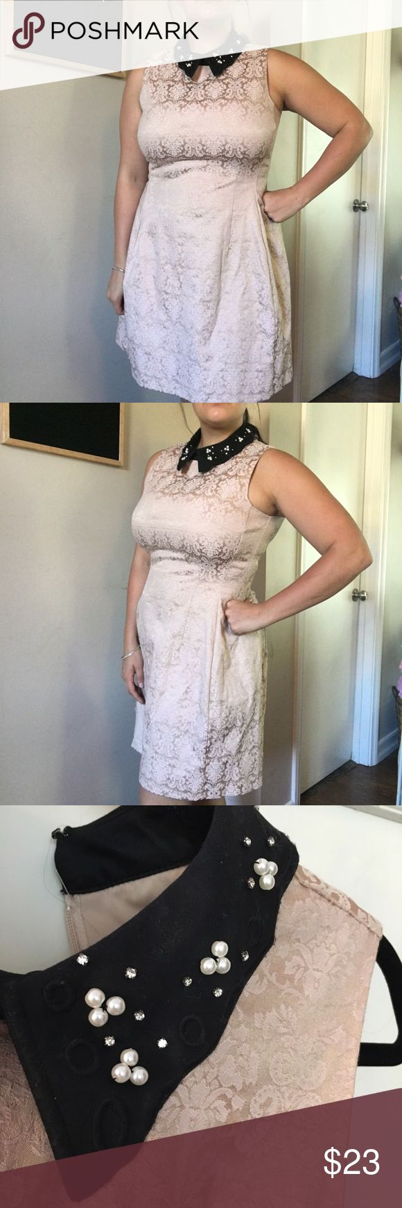 New York & Company/Eva Mendes collared dress I absolutely fell in love with this dress the moment I saw it! So elegant, very detailed, and sophisticated. Embellished collar with diamonds and pearls and hugs my size 12 body perfectly. I would wear with a pair of plain black shoes. New York & Company Dresses Midi