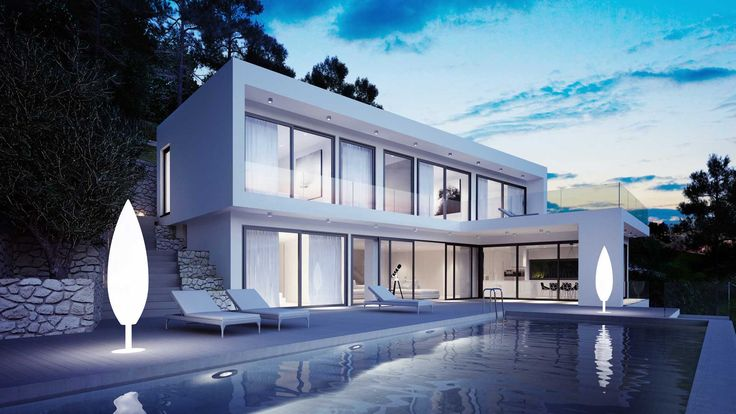Javea House exterior view, swimming pool