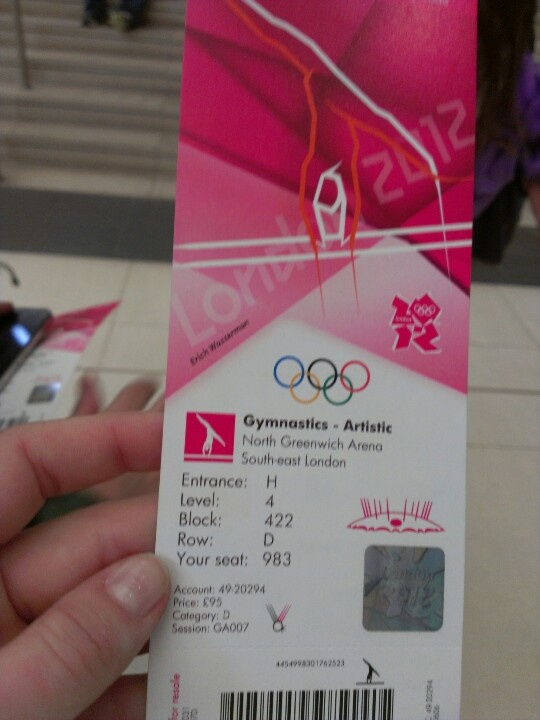 Ticket for the Men's Team Gymnastics Final in the O2 Arena during the Olympics 2012