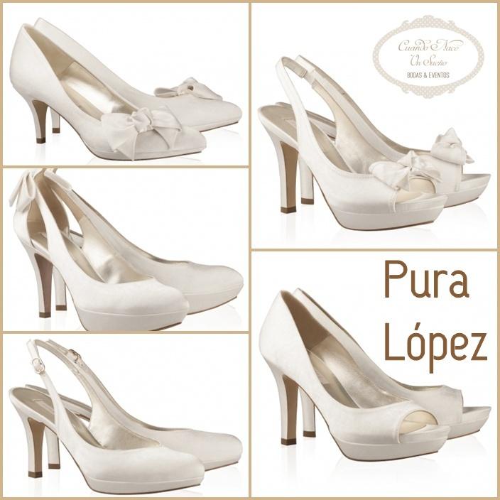 ZAPATOS NOVIA PURA LOPEZ. wedding shoes. Zapato tacón medio bajo. Novias en plano