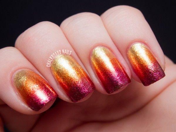 metallic sunset ombre nail art