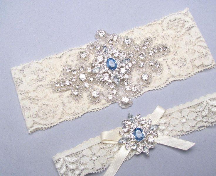 Blue Wedding Garter, Something Blue, Rhinestone Garter, Crystal Bridal Garter Set, Ivory or White Lace Garter, Keepsake Toss Garter, Prom - http://www.usedweddingresales.com/blue-wedding-garter-something-blue-rhinestone-garter-crystal-bridal-garter-set-ivory-or-white-lace-garter-keepsake-toss-garter-prom.html
