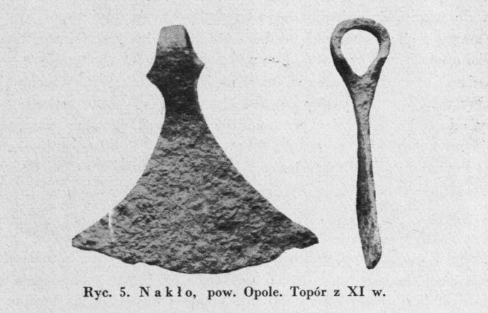 """Axe find from Nakło, Poland / 11th century Source: Wanda Tarnowska: """"Topory wczesnośredniowieczne z obszaru Śląska"""", Światowit 24, 1962"""