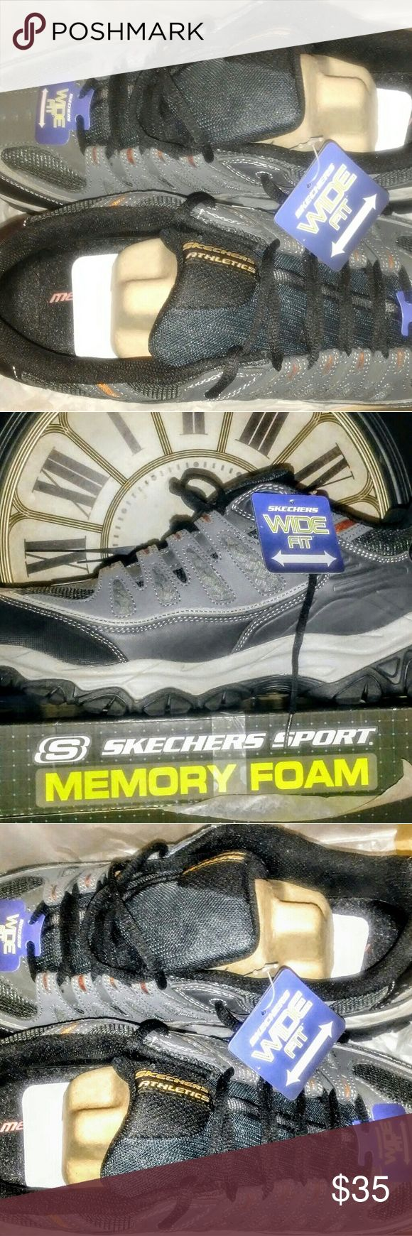 New! Men's Skechers Sport Sneakers Size 14 E PRICE IS FIRM Bundle for 15% Discount New! In Box, W/Tags Never Worn.   Men's Skechers Sport Memory Foam Sneakers.   Style: After Burn🔥 Size: 14 E (Wide Width) Color: Charcoal/Gray Skechers Shoes Sneakers