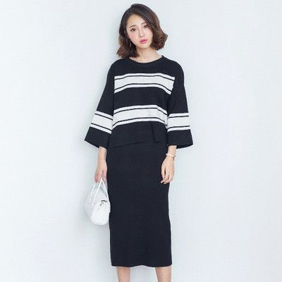 Korean fashion striped top sweater and skirt two pieces