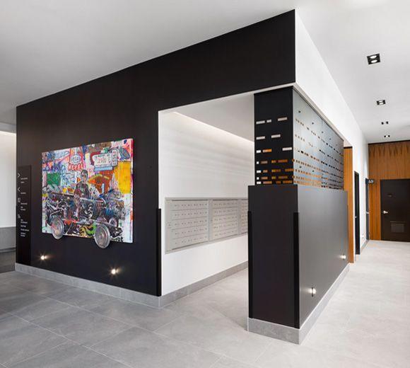 Tour Fresk / Quebec city / Signs / Signalétique / Entrance / Mail / Design / Interior Design / Architecture / Design d'intérieur  Photo : Stéphane Groleau