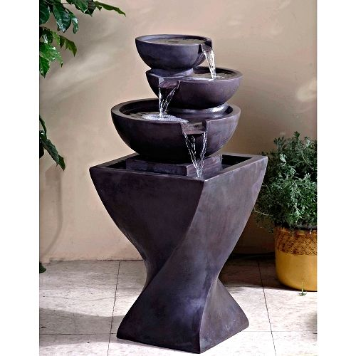 Modern Tiered Bowls Indoor Water Fountain