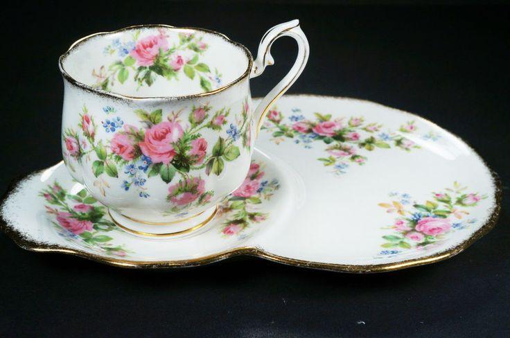 Antique Royal Albert Moss Rose Gold Tea Cup Saucer Biscuit