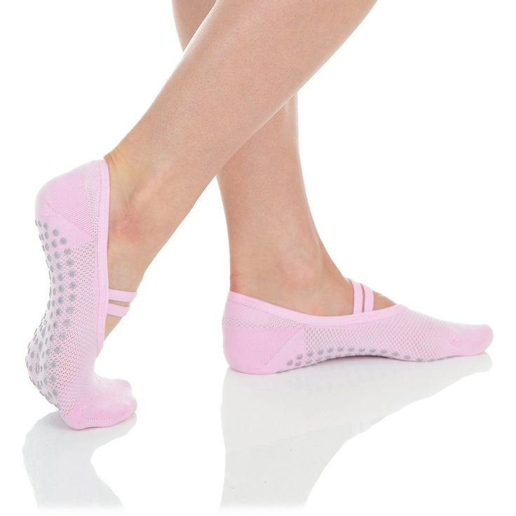 Mia Mesh Grip Sock   Petal Pink/Silver