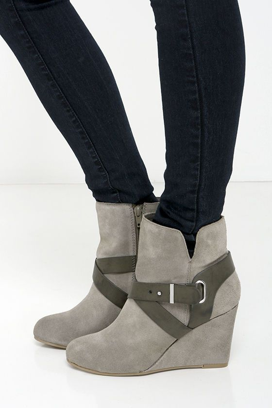Chinese Laundry Ultimate Grey Suede Leather Wedge Booties at Lulus.com!