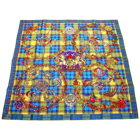 """Available mightychic.com Guaranteed authentic HERMES """"FLEURS D'ECOSSE"""" signed silk scarf in a rare colour way. Beautiful vivid..."""