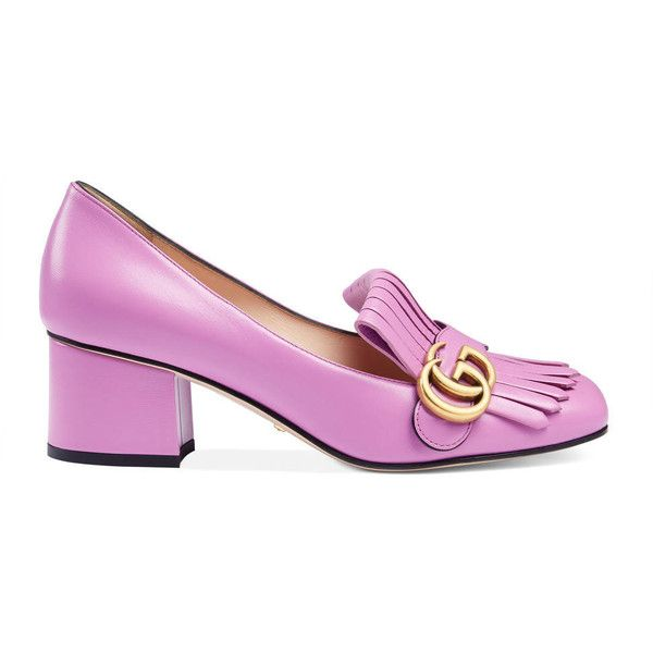 Gucci Leather Mid-Heel Pump (€545) ❤ liked on Polyvore featuring shoes, pumps, pink, women, pink leather shoes, leather pumps, gucci, pink mid heel shoes and foldable shoes