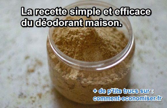 Il existe une recette facile à faire de déodorant fait maison. Garanti bio et sans produits chimiques, vous saurez ce qu'il contient. Il est, de plus, très efficace.  Découvrez l'astuce ici : http://www.comment-economiser.fr/recette-deo-alun.html?utm_content=buffer5ddd0&utm_medium=social&utm_source=pinterest.com&utm_campaign=buffer