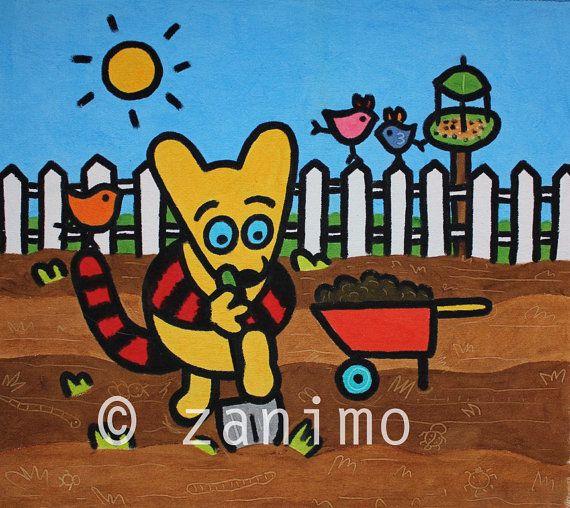 Maki's garden spring birds vegetable patch colorful by Zanimo, $15.00