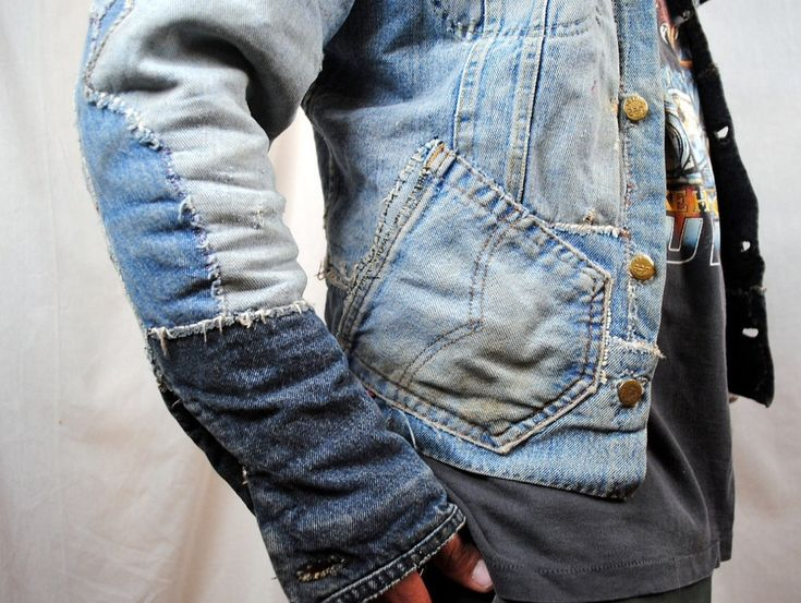 Denim jacket made from a patchwork of old jeans for Old denim