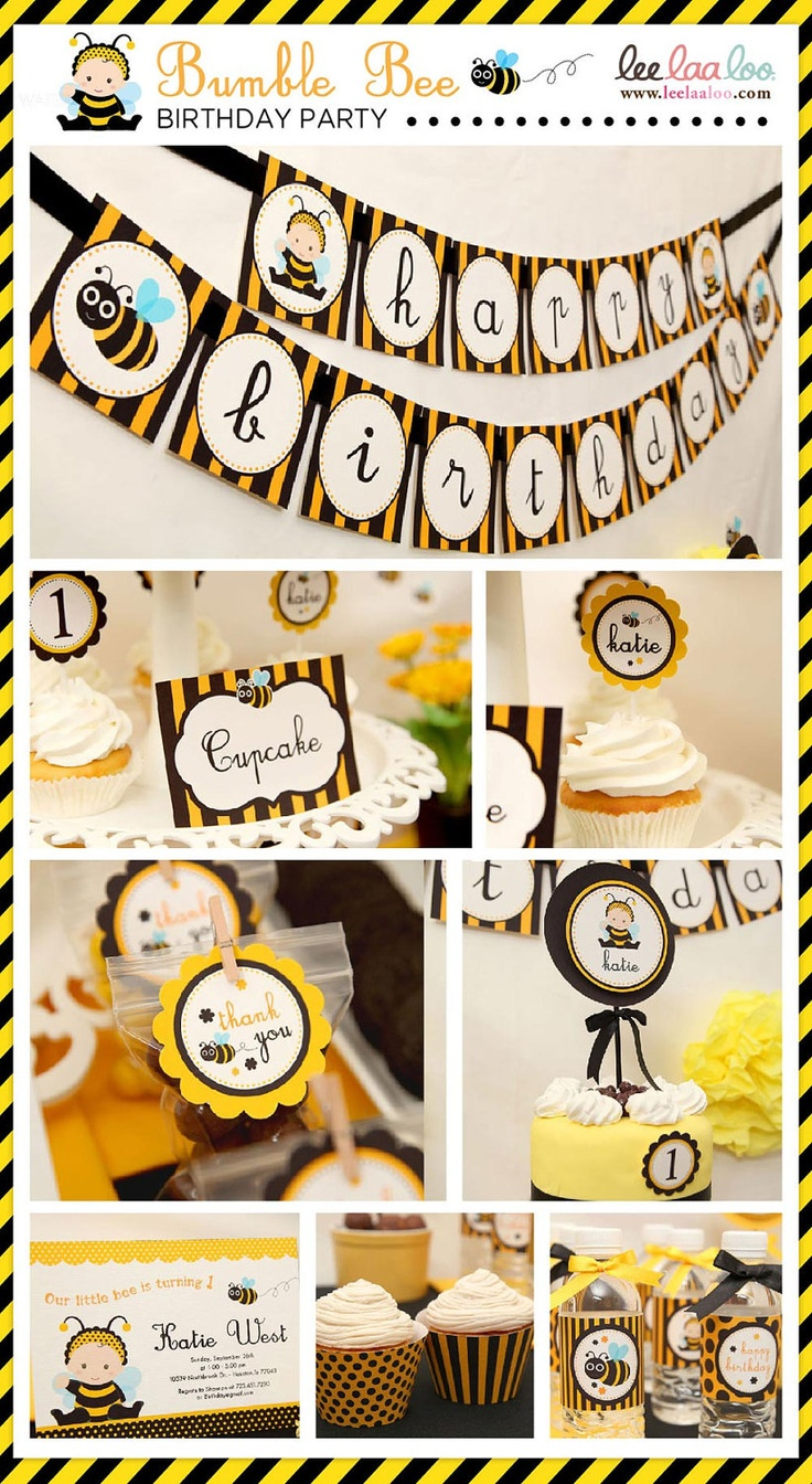 Printable Bee Party Cake Wrappers Etc