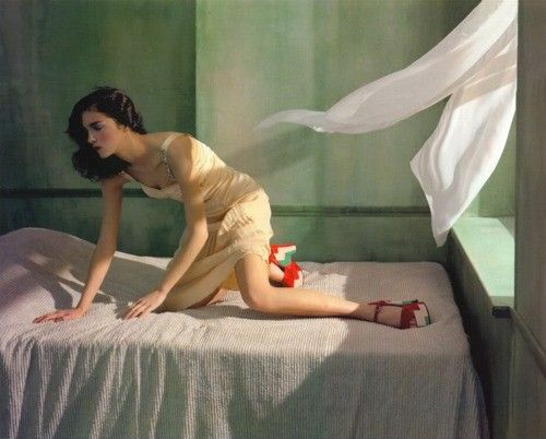 Edward Hopper? Looks more like a photo recreation; bedspread does not have the choppy quality of Hopper's style.Compare to Morning Sun 1952