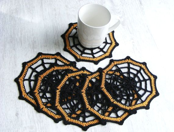 Halloween coasters set of 6 crochet spider web coasters by NatkaLV, $23.00