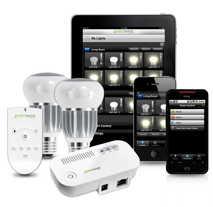 GreenWave Reality's intelligent lighting platform: chips give each light bulb an Internet IP address so they can be monitored and controlled wirelessly via computer, iPad, iPhone or Android.