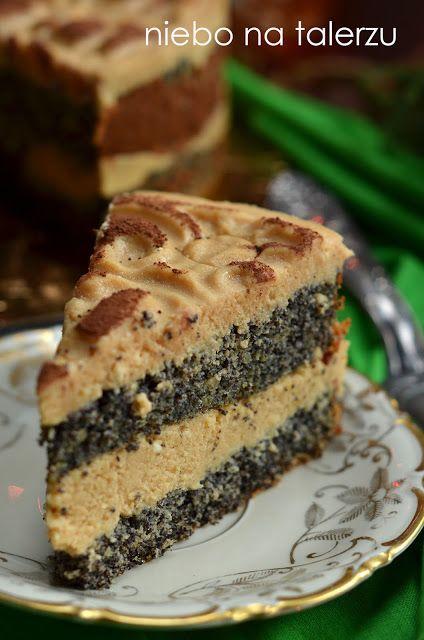 niebo na talerzu: Ciasto makowe z kremem karmelowym. Tort makowy z kremem sernikowym