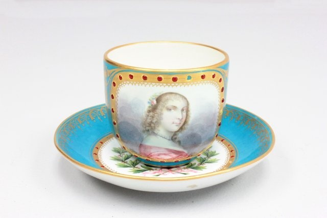 19th c. Sevres jeweled portrait cup & saucer: