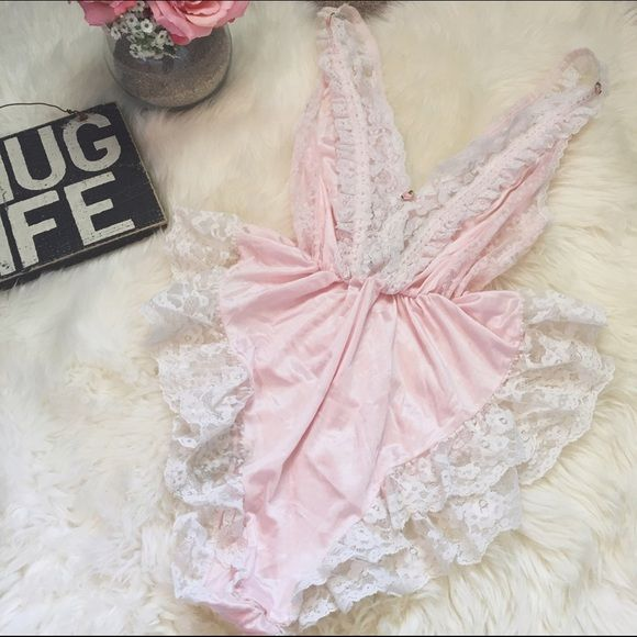 Vintage Pink Lace Teddy Lingerie ::: ✨ A beautiful 80s pink vintage teddy. Covered in a lot of lace and a beautiful pastel color. It's playful and sexy at the same time. Fits a size small or medium. ✨ ::: Intimates & Sleepwear