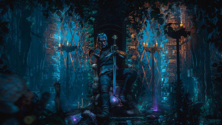 Gry Wideo - Wiedźmin 3: Dziki Gon  Geralt Of Rivia Noc Miecz Wojownik Tapeta