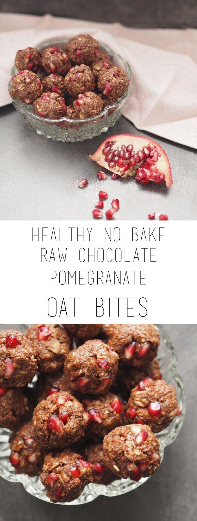 Healthy no bake raw chocolate pomegranate oat bites (sugar free, vegan)