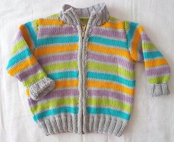 Sweater with zipper for 4-month-old baby boy Yarn: Elian Nicky Yarn needles: 3 mm