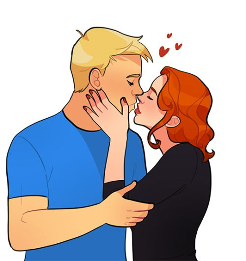 [Image: Steve Rogers and Natasha Romanoff about to kiss, Natasha's hand on Steve's cheek.]veji:So, I commission this beautiful fanart with the lovely kelslk . I love kelslk 's work so much, so I decided to make a commission for all my lovely Steve/Natasha (Romanogers) shippers and to my dear sunnie91 as a gift. Hope you like this precious fanart *_*.