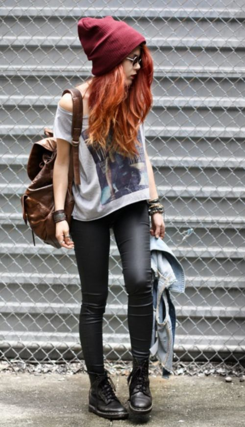Grunge: leather skinnies and Doc Martens, tee, jeans jacket and backpack. Plus colorful hair and lots of leather bracelets.
