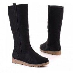 Kuitlaarzen Zwart Platte Zool ook in bruin €29,95 gratis verzenden  Leuke kuitlaarzen met een stevige platte zool, verkrijgbaar in het zwart en camel / bruin.  De laarzen hebben...