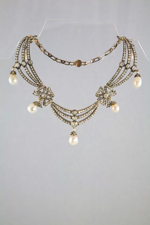 1stdibs | Highly Prized Victorian Natural Pearl & Diamond Necklace