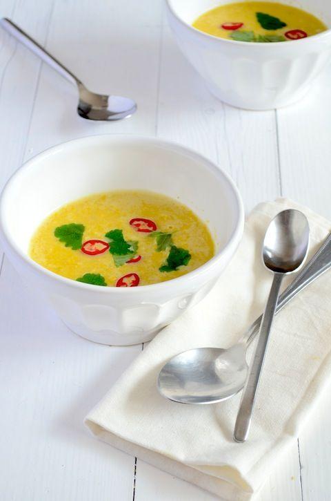Een lekkere en pittige maïssoep, gezond en Voedselzandloper proof.