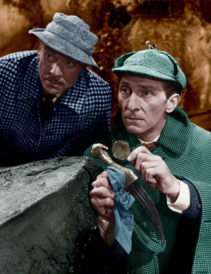 Peter Cushing and André Morell in The Hound of the Baskervilles (Hammer, 1959)