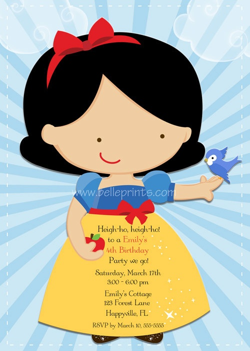 Children's PRINTABLE Snow White Birthday invitation by Belle Prints. $15.00, via Etsy.
