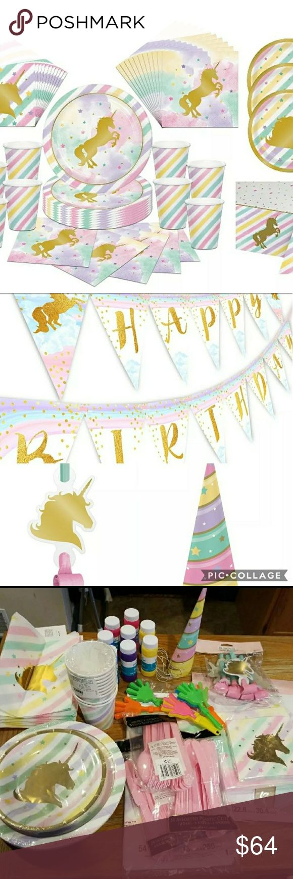 Unicorn Party Supplies 10 cups 16 lunch plates 8 dessert plates 16 lunch napkins 16 beverage napkins 6 party hats 6 blow outs  24 knives spoons forks, table cover, pennant banner and centerpiece. Also 10 favor bags, wrinkled, 8 mini bubbles and 6 mini clappers. Other