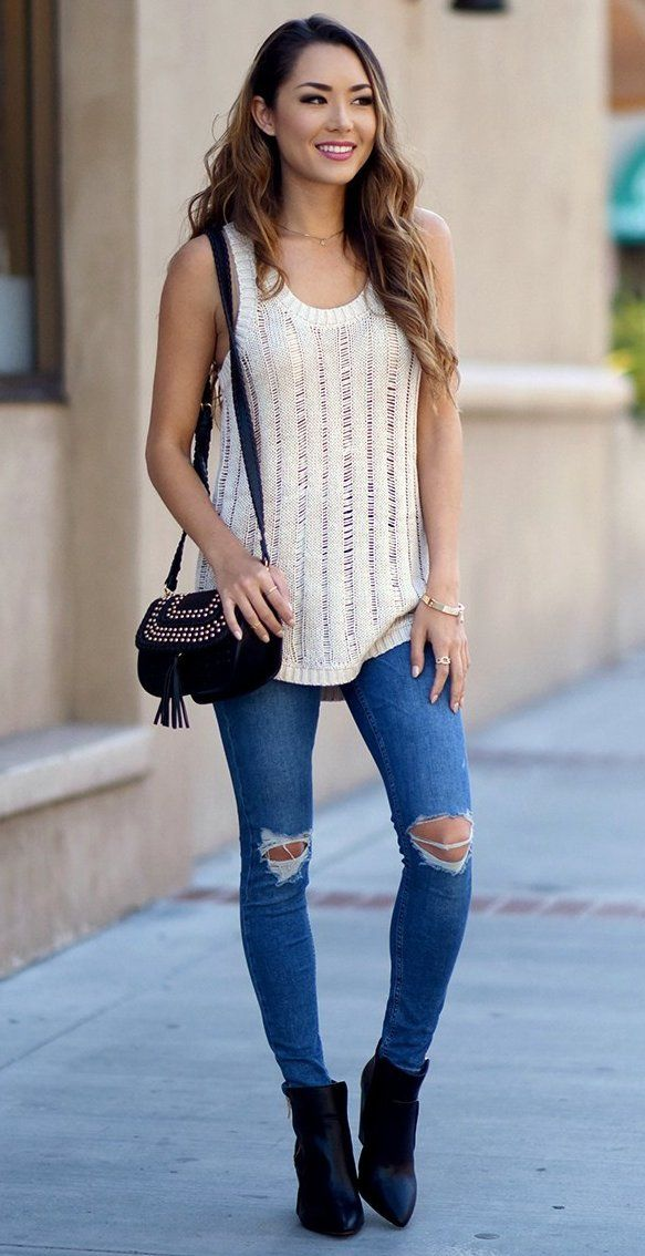 #winter #fashion /  White Top + Skinny Destroyed Jeans