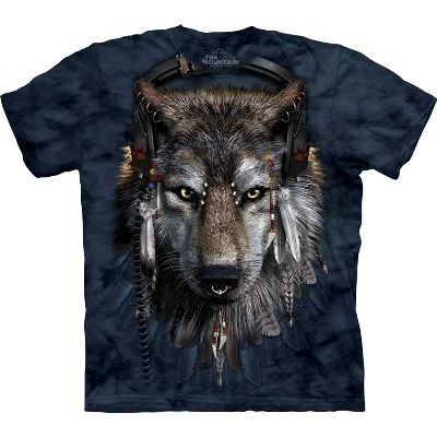 DJ Fen - Manimals T Shirt by the Mountain This t-shirt shows a music loving, Native American wolf called DJ Fen. He loves music so much, that he decided to make a career out of it. Have a Grrreat time dancing to his music, or he may start howling at you. This t-shirt is part of the new Manimals October clothing range from The Mountain, which humanizes animals.  Made in the USA from 100% top quality cotton.