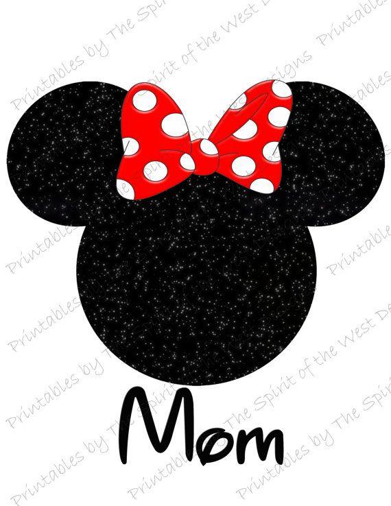 Souris de Minnie maman IMAGE servir de fer de la tête sur ou de Clip art, souris oreilles imprimable Clip Art Disney chemise partie T-shirt transfert Télécharger