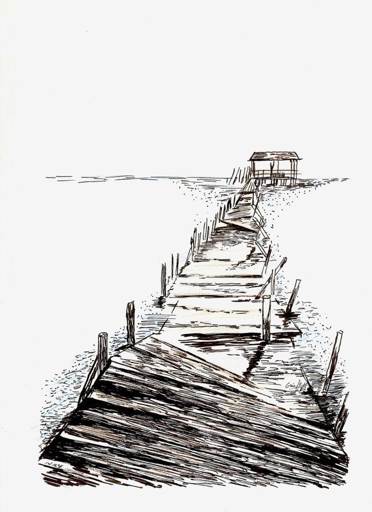 https://flic.kr/p/wARG1A | Paseo con cabaña al fondo | Técnica Mixta - 210 x 297 mm. - Papel Basik.  Dibujo realizado con rotuladores de tinta china y lápices de colores.