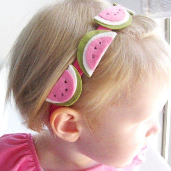 Summer Fun Wool Felt Watermelon Headband - Hot Pink and Green
