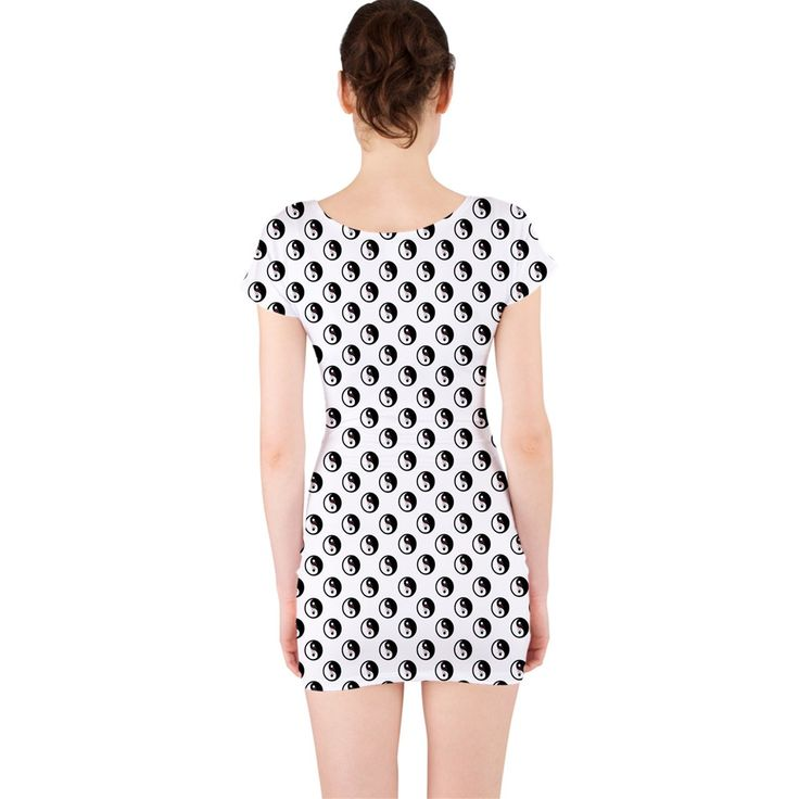 Grey Shade Love Chinese Character Yin Yang Heart Short Sleeve Bodycon Dress 5 Colors