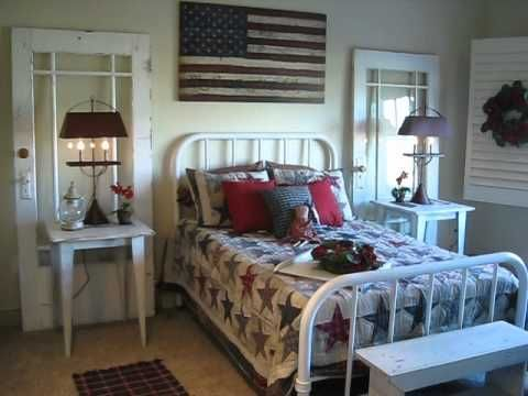 The Red Brick Cottage Country Primitive Show House (video tour)  good ideas for groupings, focal points, and wall decor #primitivehomes
