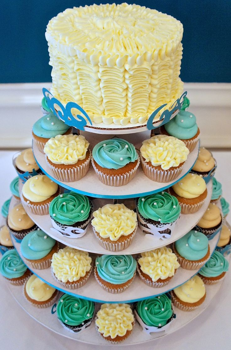 Beach Themed Wedding Cupcake Tower RUFFLICIOUS By Half Baked Co