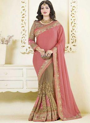 Ayesha Takia Pink Cream Embroidery Work Georgette Fancy Designer Half Sarees http://www.angelnx.com/Sarees
