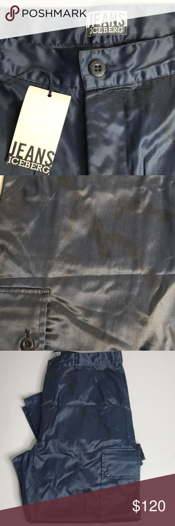 Iceberg Slick Cargo Pants !!!! RARE ... NWT !!!!  Slick cargo pants from Iceberg Jeans. Navy blue with an all over faint black camouflage print. Iceberg Pants Cargo