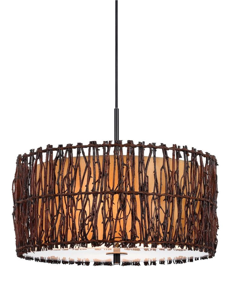tree wood twigs drum pendant light chandelier fixture round cylinder